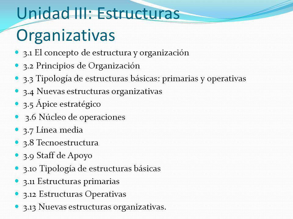 Unidad III: Estructuras Organizativas