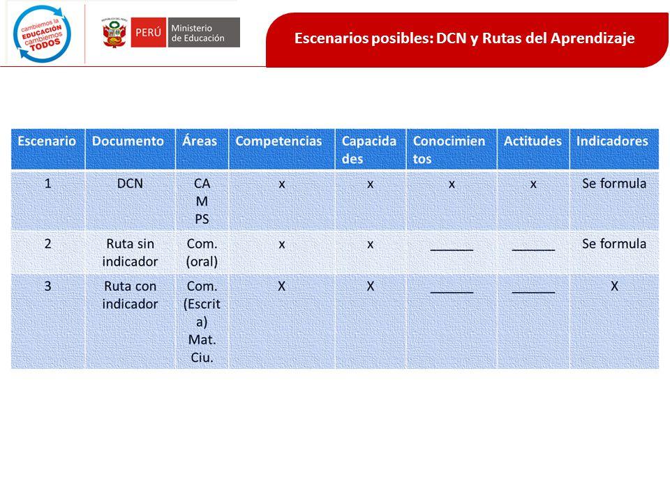 Escenarios posibles: DCN y Rutas del Aprendizaje