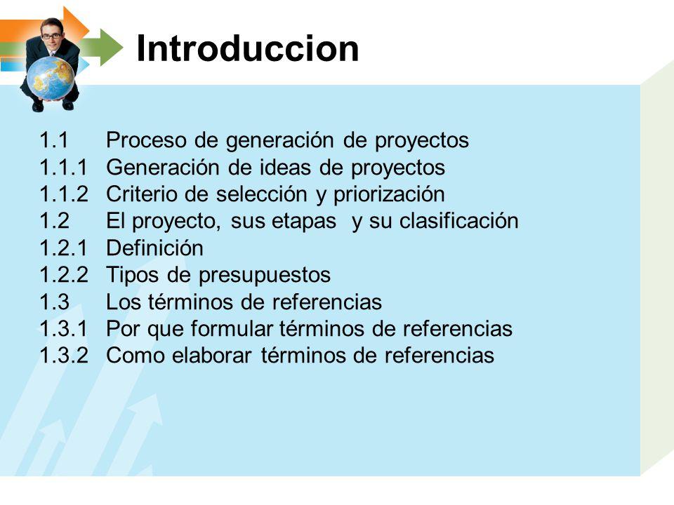 Introduccion 1.1 Proceso de generación de proyectos