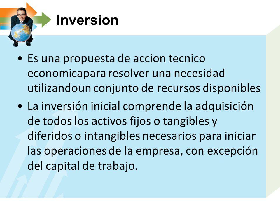 Inversion Es una propuesta de accion tecnico economicapara resolver una necesidad utilizandoun conjunto de recursos disponibles.