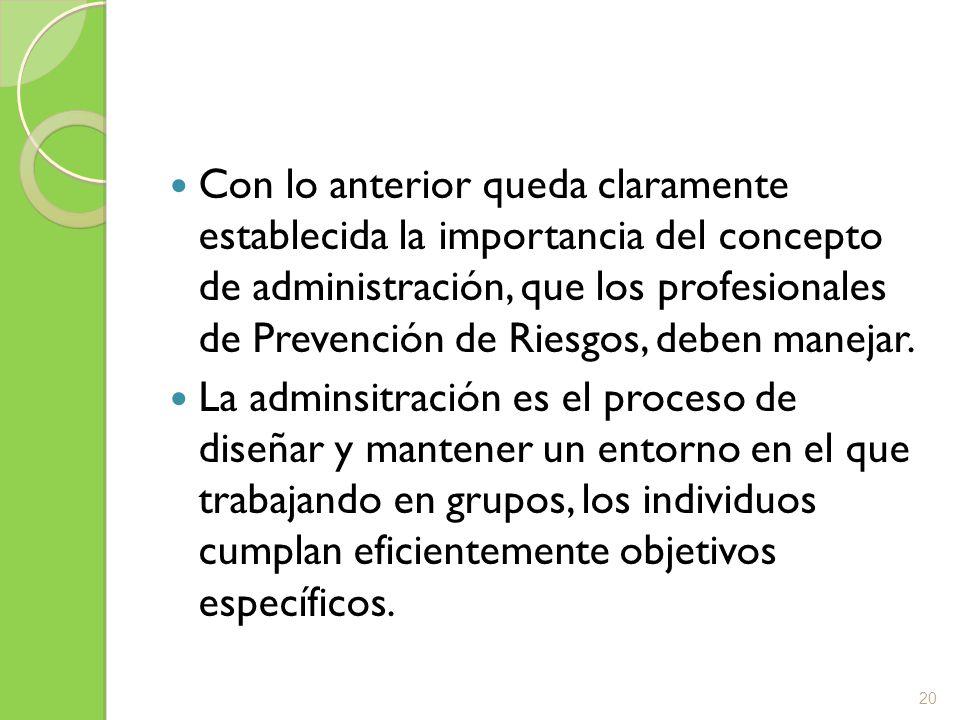 Con lo anterior queda claramente establecida la importancia del concepto de administración, que los profesionales de Prevención de Riesgos, deben manejar.