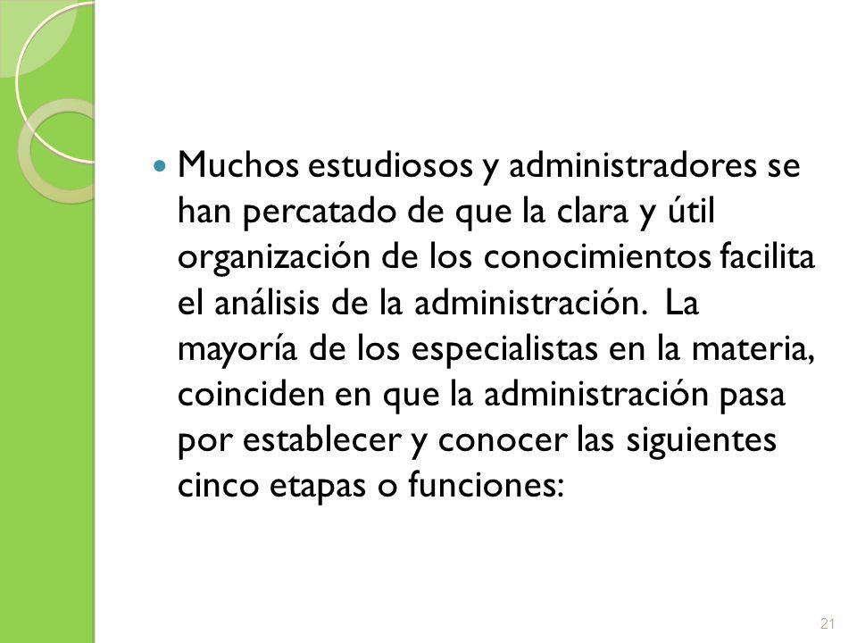 Muchos estudiosos y administradores se han percatado de que la clara y útil organización de los conocimientos facilita el análisis de la administración.