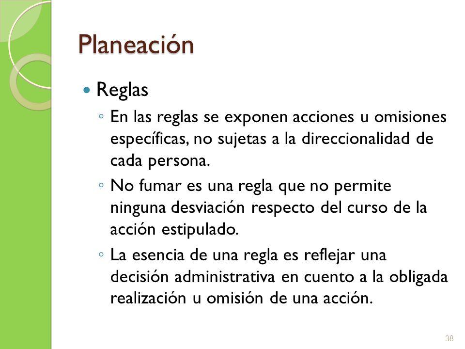 Planeación Reglas. En las reglas se exponen acciones u omisiones específicas, no sujetas a la direccionalidad de cada persona.