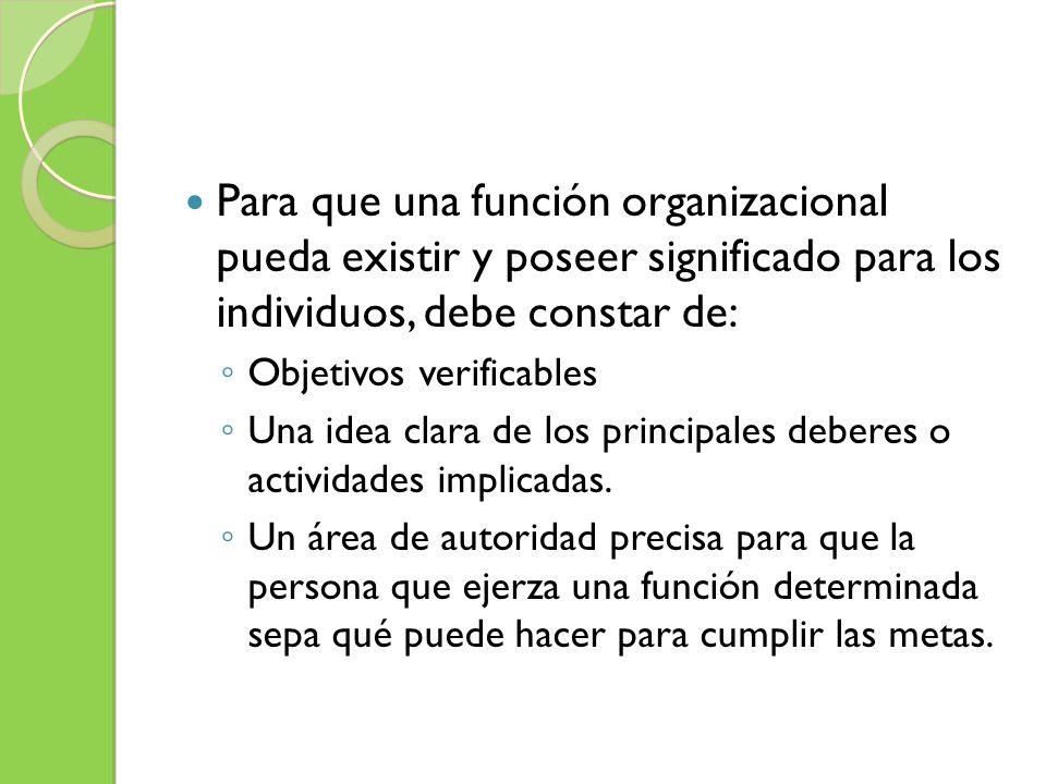 Para que una función organizacional pueda existir y poseer significado para los individuos, debe constar de:
