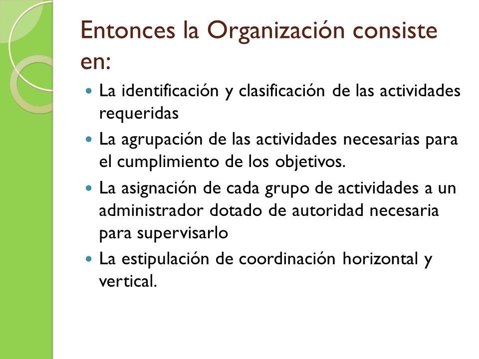 Entonces la Organización consiste en:
