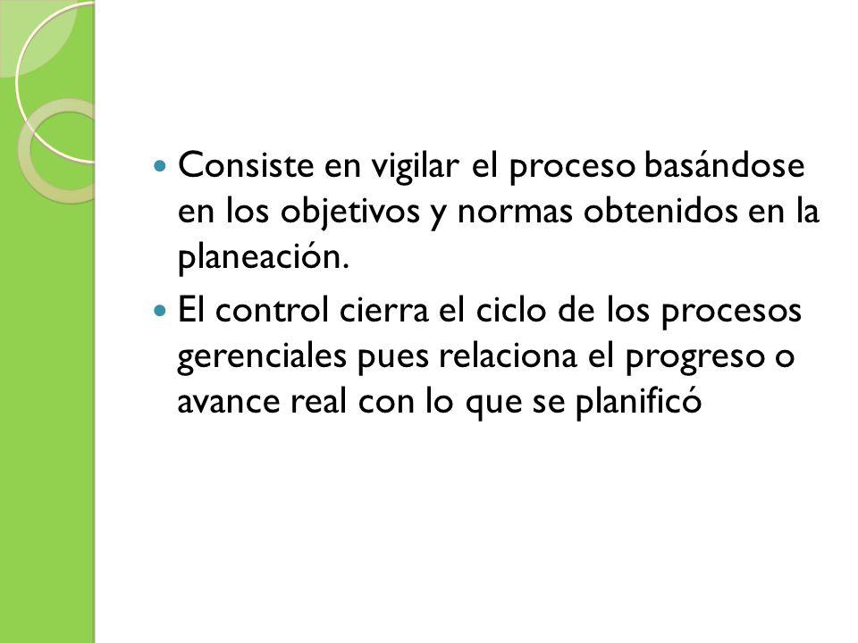 Consiste en vigilar el proceso basándose en los objetivos y normas obtenidos en la planeación.