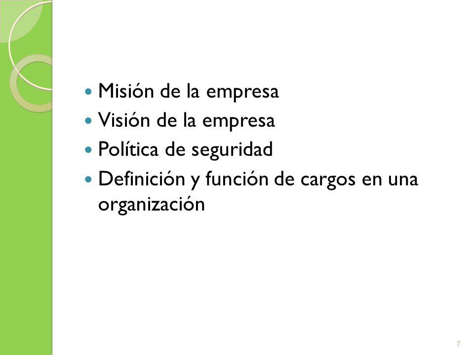 Misión de la empresa Visión de la empresa. Política de seguridad.