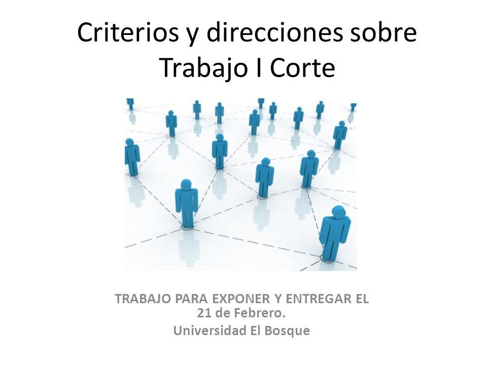 Criterios y direcciones sobre Trabajo I Corte