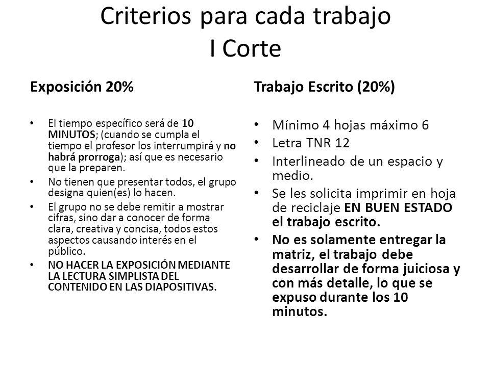 Criterios para cada trabajo I Corte