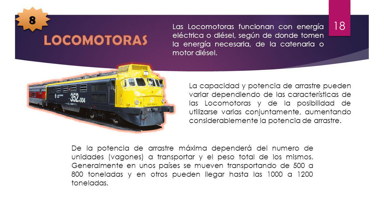 8 Las Locomotoras funcionan con energía eléctrica o diésel, según de donde tomen la energía necesaria, de la catenaria o motor diésel.