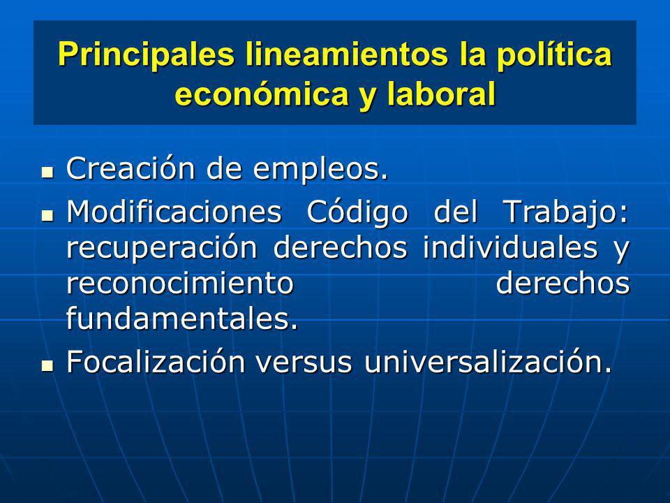 Principales lineamientos la política económica y laboral