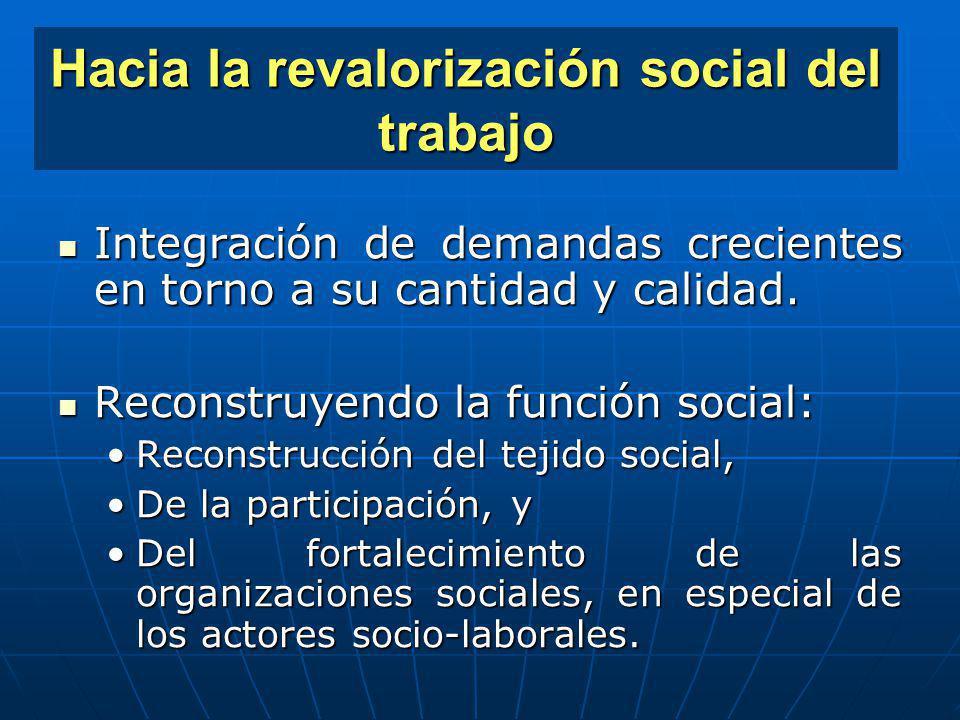 Hacia la revalorización social del trabajo
