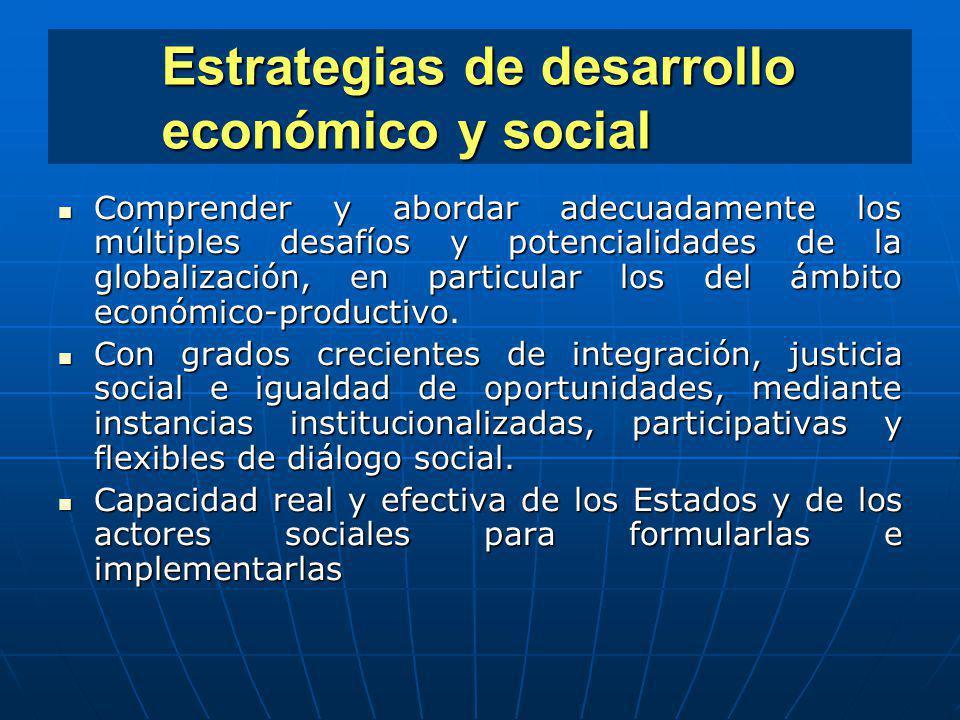 Estrategias de desarrollo económico y social