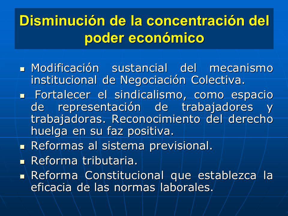 Disminución de la concentración del poder económico