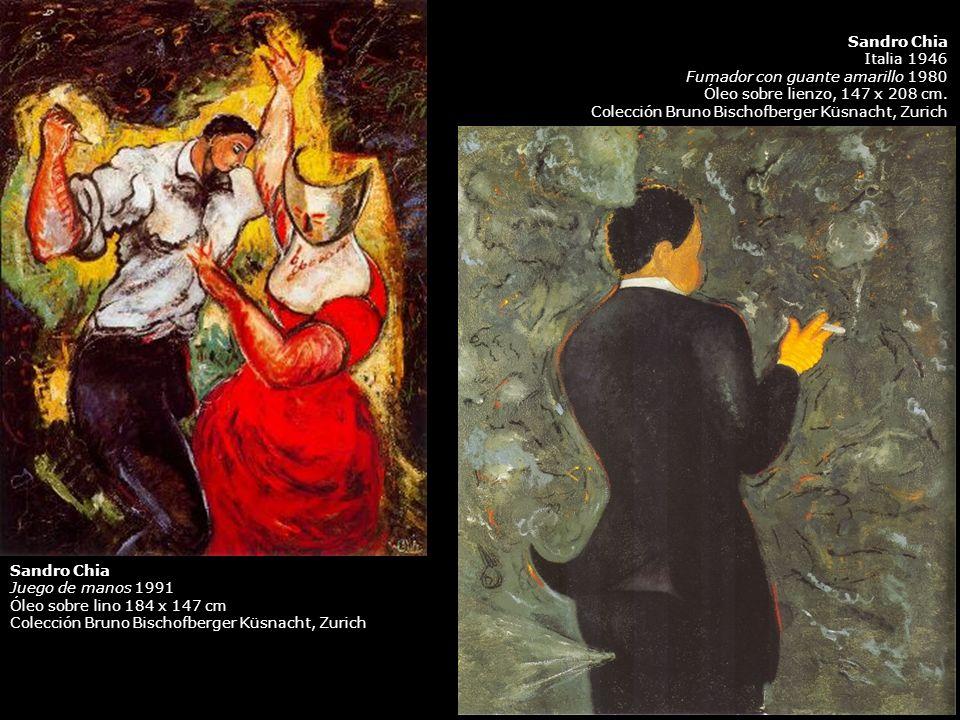 Sandro Chia Italia 1946. Fumador con guante amarillo 1980. Óleo sobre lienzo, 147 x 208 cm. Colección Bruno Bischofberger Küsnacht, Zurich.