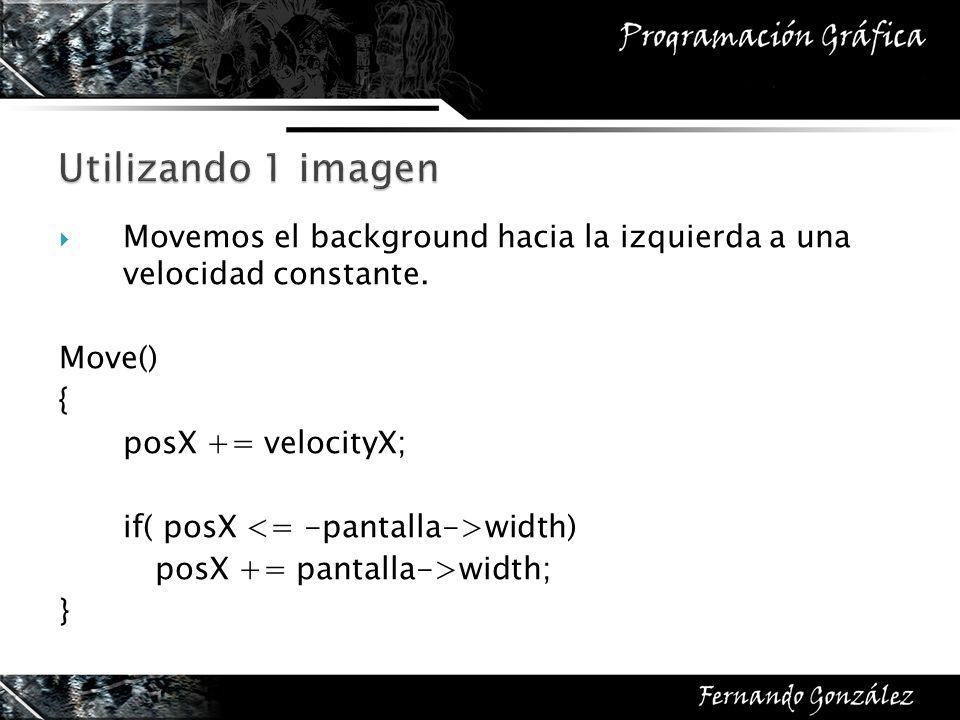 Utilizando 1 imagen Movemos el background hacia la izquierda a una velocidad constante. Move() {