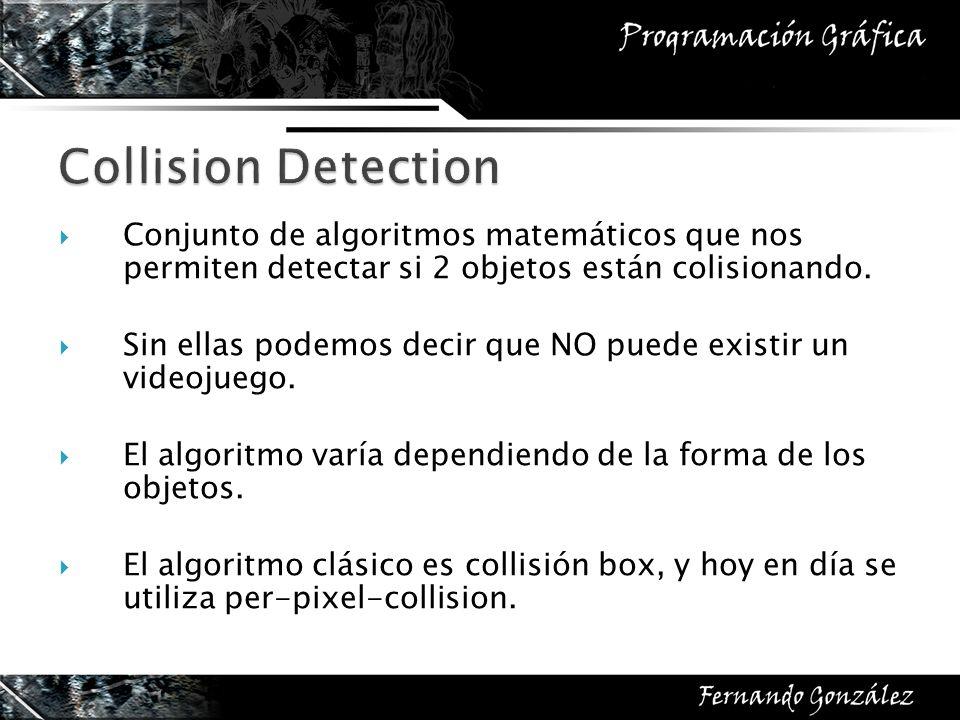 Collision Detection Conjunto de algoritmos matemáticos que nos permiten detectar si 2 objetos están colisionando.
