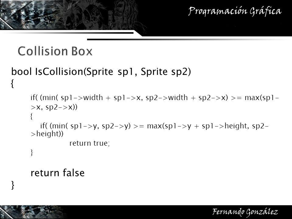 Collision Box bool IsCollision(Sprite sp1, Sprite sp2) { if( (min( sp1->width + sp1->x, sp2->width + sp2->x) >= max(sp1- >x, sp2->x))
