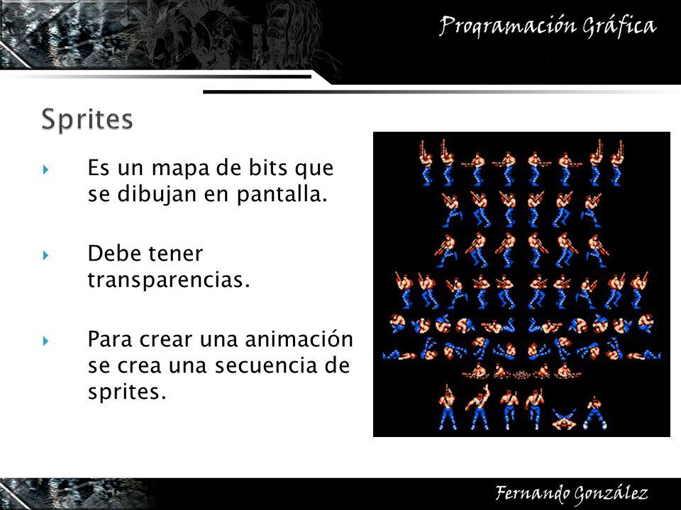 Sprites Es un mapa de bits que se dibujan en pantalla.