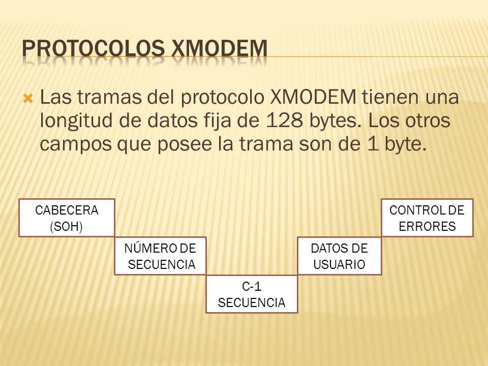 Protocolos xmodem Las tramas del protocolo XMODEM tienen una longitud de datos fija de 128 bytes. Los otros campos que posee la trama son de 1 byte.