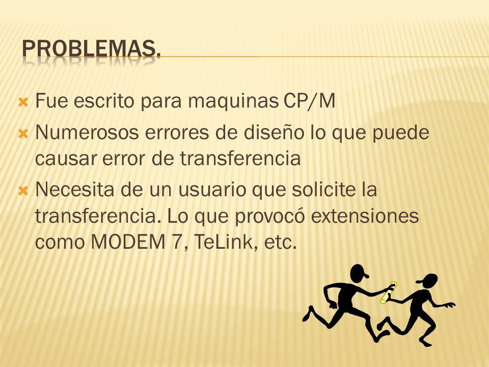 Problemas. Fue escrito para maquinas CP/M