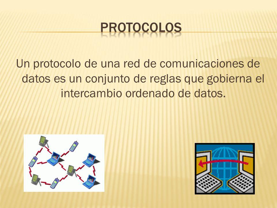 protocolos Un protocolo de una red de comunicaciones de datos es un conjunto de reglas que gobierna el intercambio ordenado de datos.