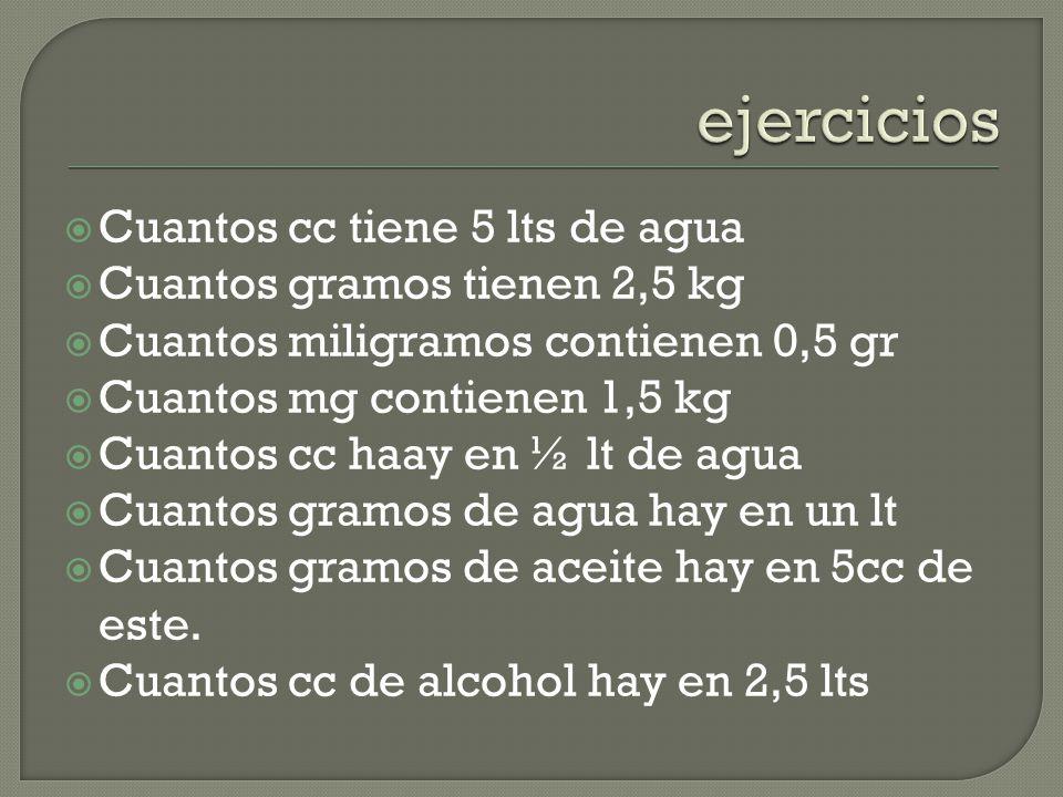 ejercicios Cuantos cc tiene 5 lts de agua Cuantos gramos tienen 2,5 kg