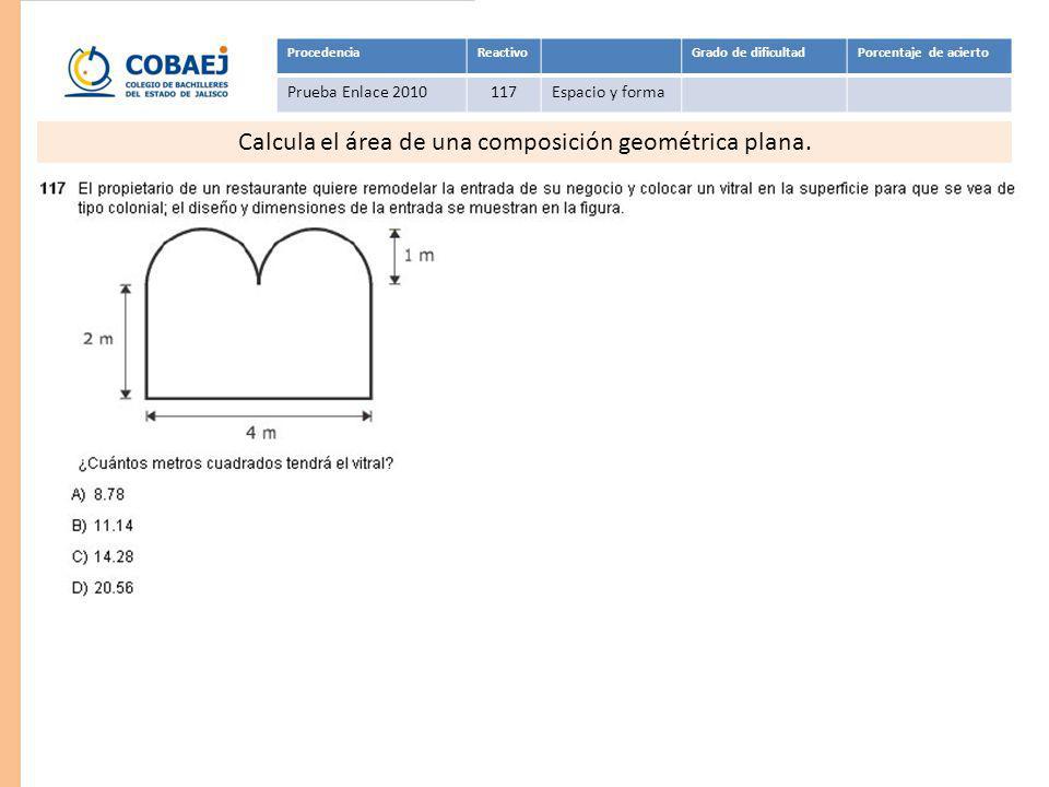 Calcula el área de una composición geométrica plana.