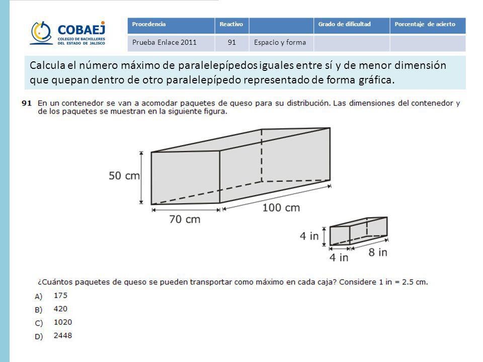 Procedencia Reactivo. Grado de dificultad. Porcentaje de acierto. Prueba Enlace 2011. 91. Espacio y forma.