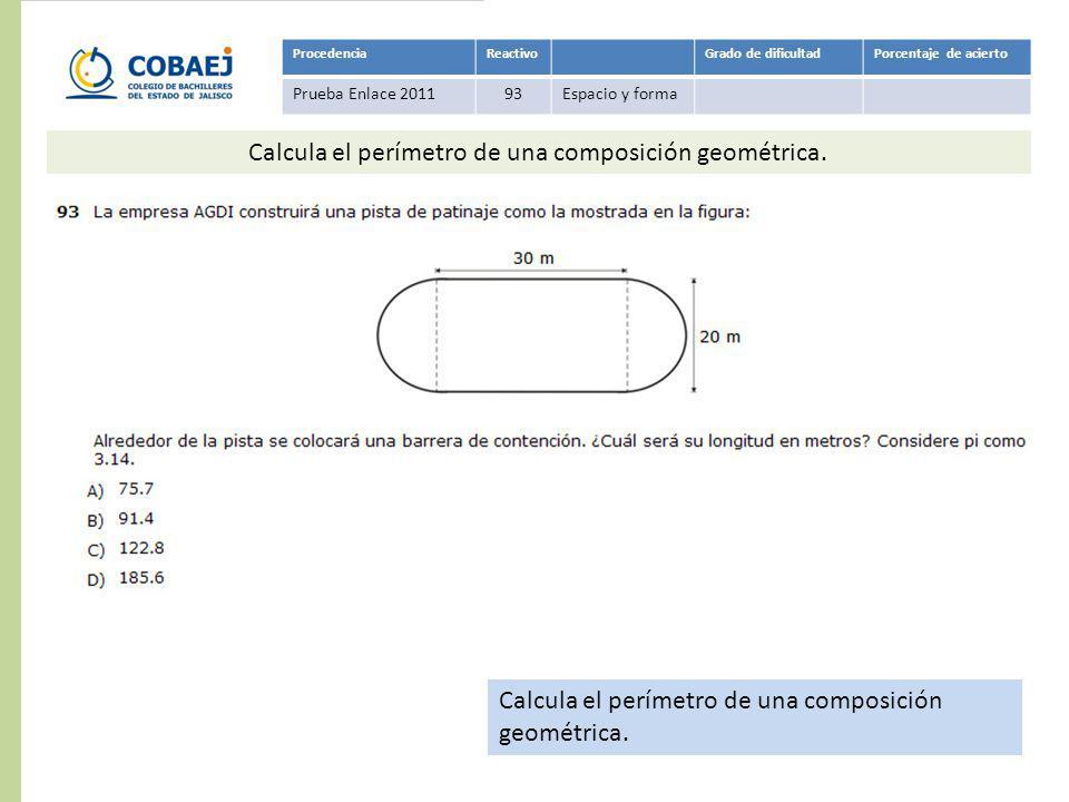 Calcula el perímetro de una composición geométrica.