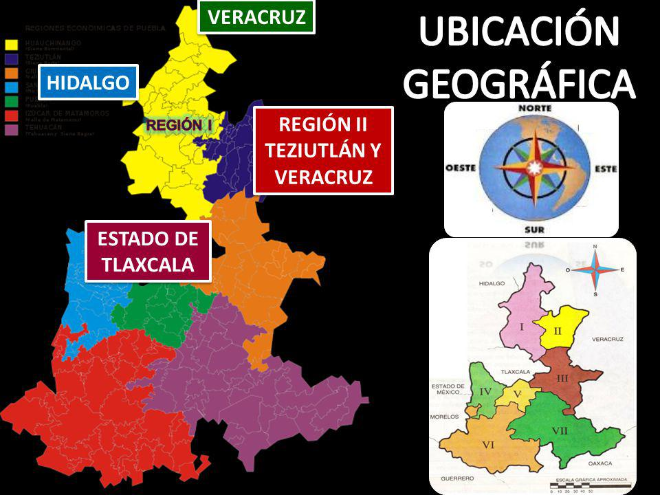 UBICACIÓN GEOGRÁFICA VERACRUZ HIDALGO REGIÓN II TEZIUTLÁN Y VERACRUZ