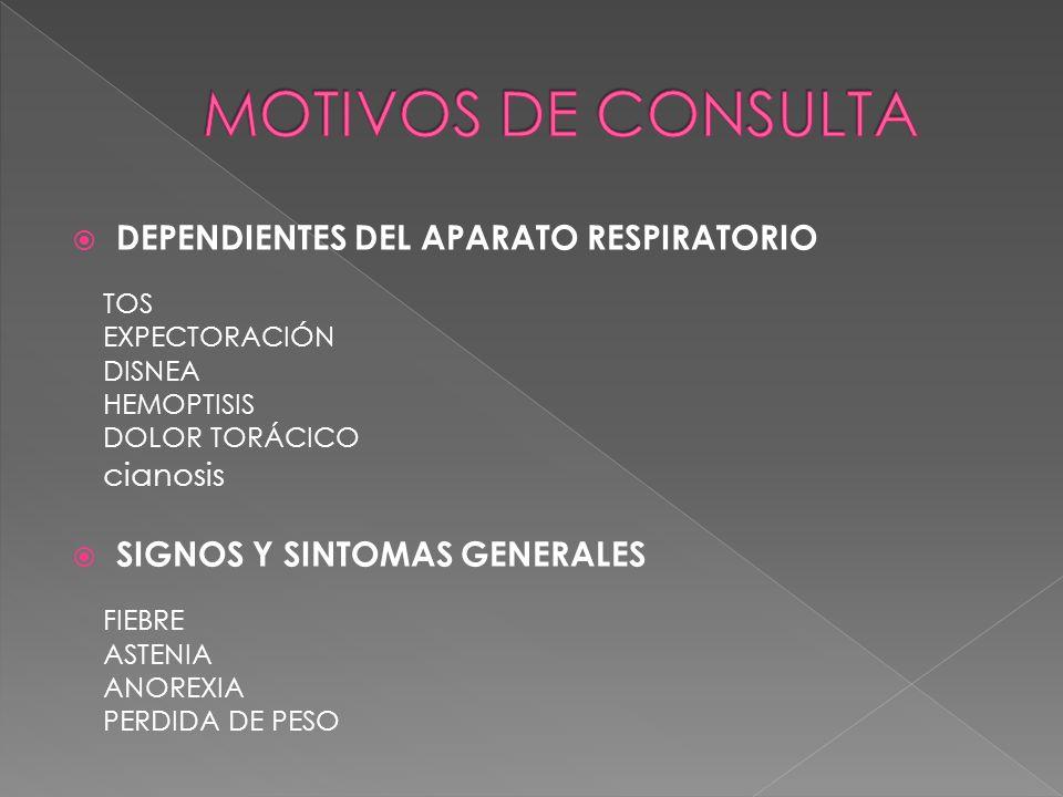 MOTIVOS DE CONSULTA DEPENDIENTES DEL APARATO RESPIRATORIO