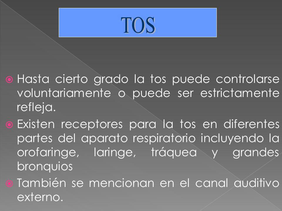 TOS Hasta cierto grado la tos puede controlarse voluntariamente o puede ser estrictamente refleja.