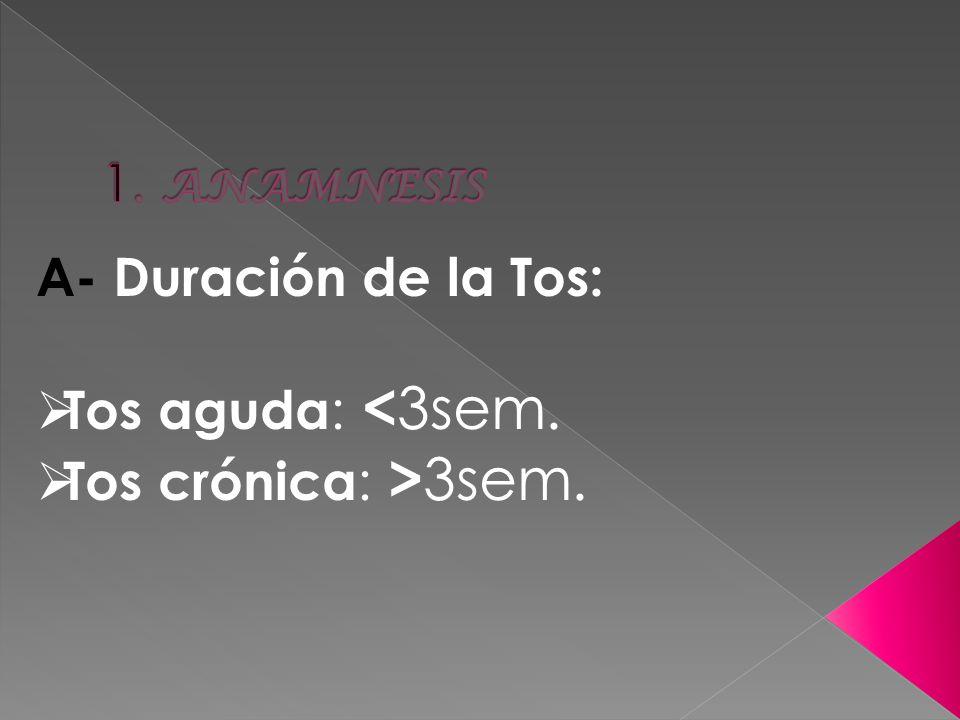 1. ANAMNESIS A- Duración de la Tos: Tos aguda: <3sem. Tos crónica: >3sem.
