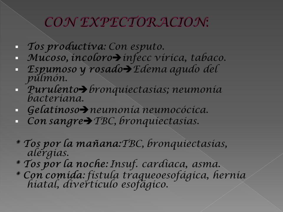 CON EXPECTORACION: Tos productiva: Con esputo.