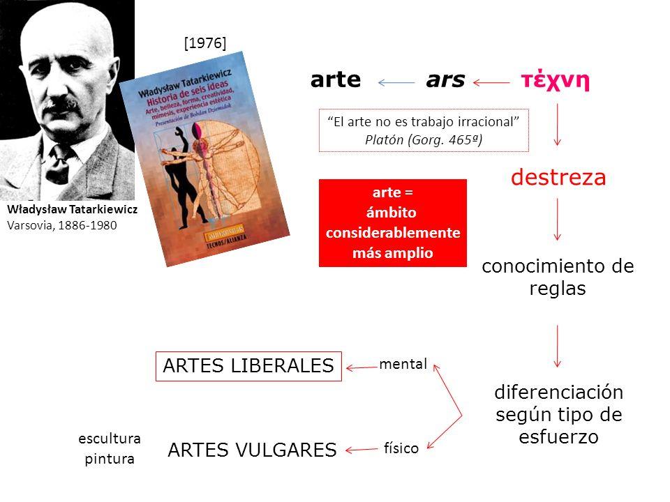 arte ars τέχνη destreza conocimiento de reglas ARTES LIBERALES
