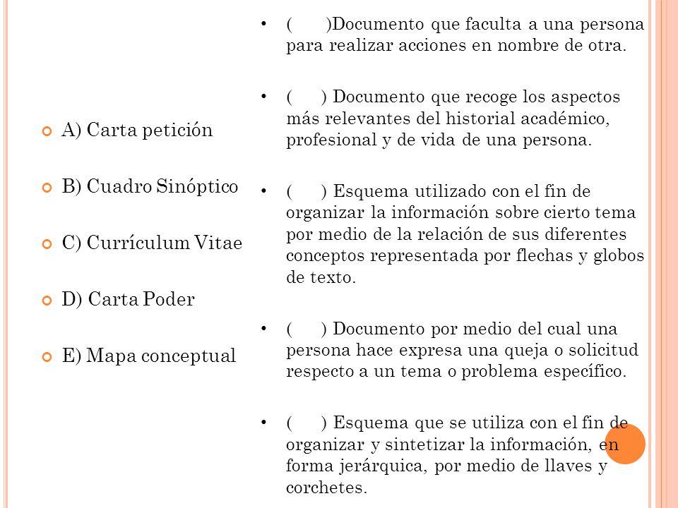 A) Carta petición B) Cuadro Sinóptico C) Currículum Vitae