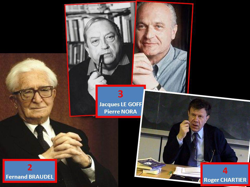 3 Jacques LE GOFF Pierre NORA 2 Fernand BRAUDEL 4 Roger CHARTIER