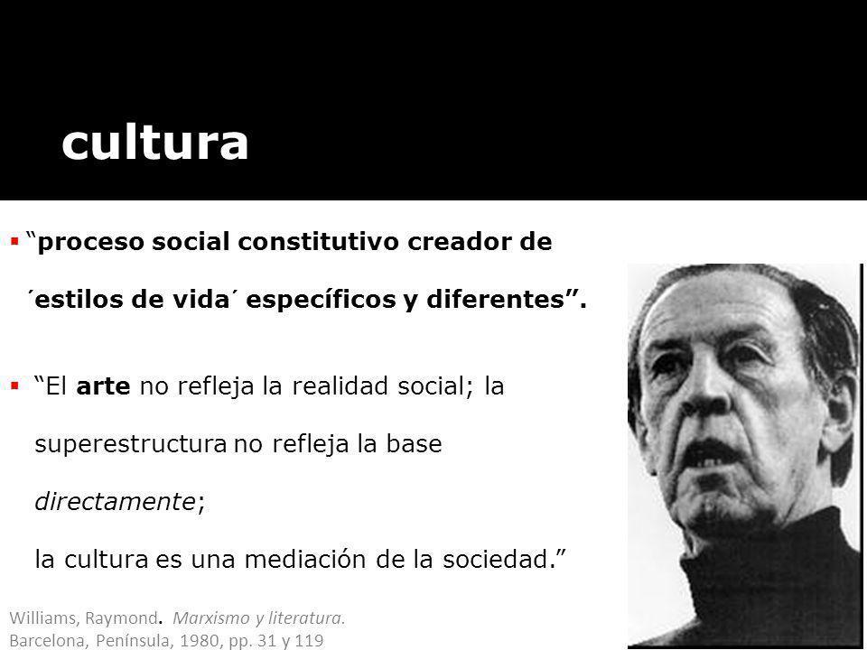 cultura proceso social constitutivo creador de ´estilos de vida´ específicos y diferentes .