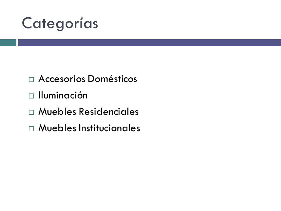 Categorías Accesorios Domésticos Iluminación Muebles Residenciales