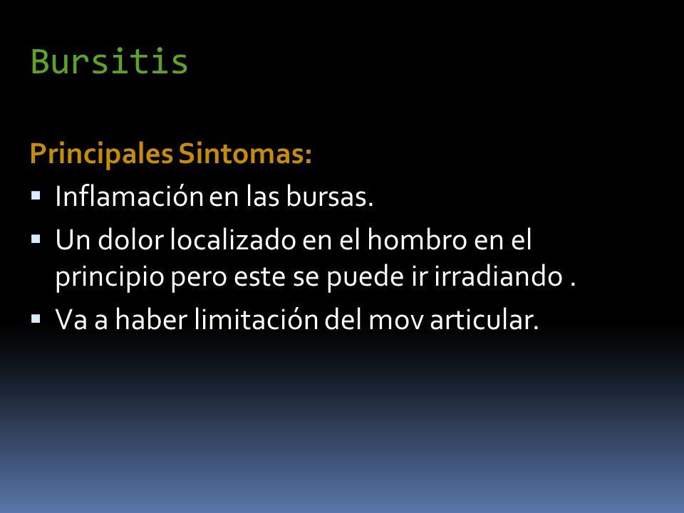 Bursitis Principales Sintomas: Inflamación en las bursas.