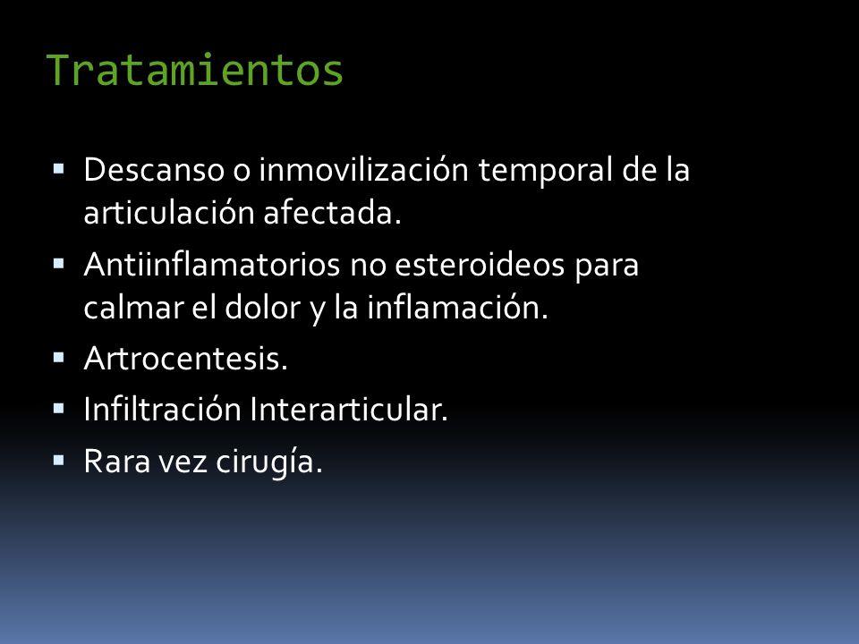 Tratamientos Descanso o inmovilización temporal de la articulación afectada.