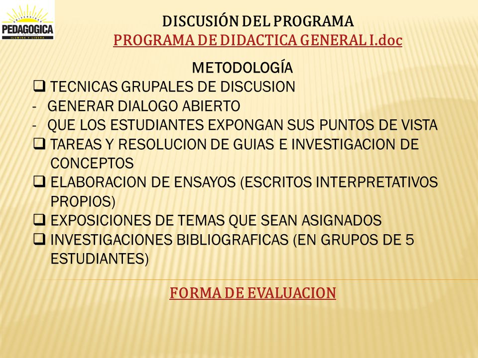 DISCUSIÓN DEL PROGRAMA PROGRAMA DE DIDACTICA GENERAL I.doc
