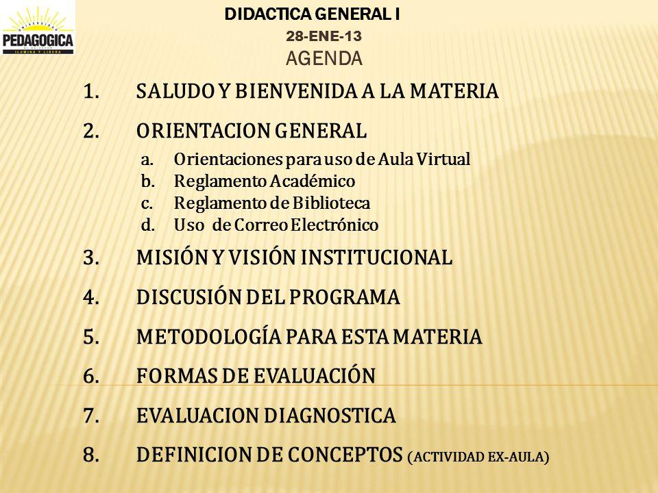 Didactica General I 28-ENE-13 AGENDA