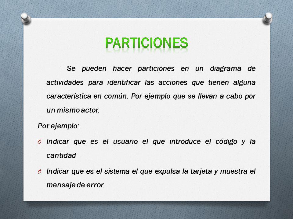 particiones Por ejemplo:
