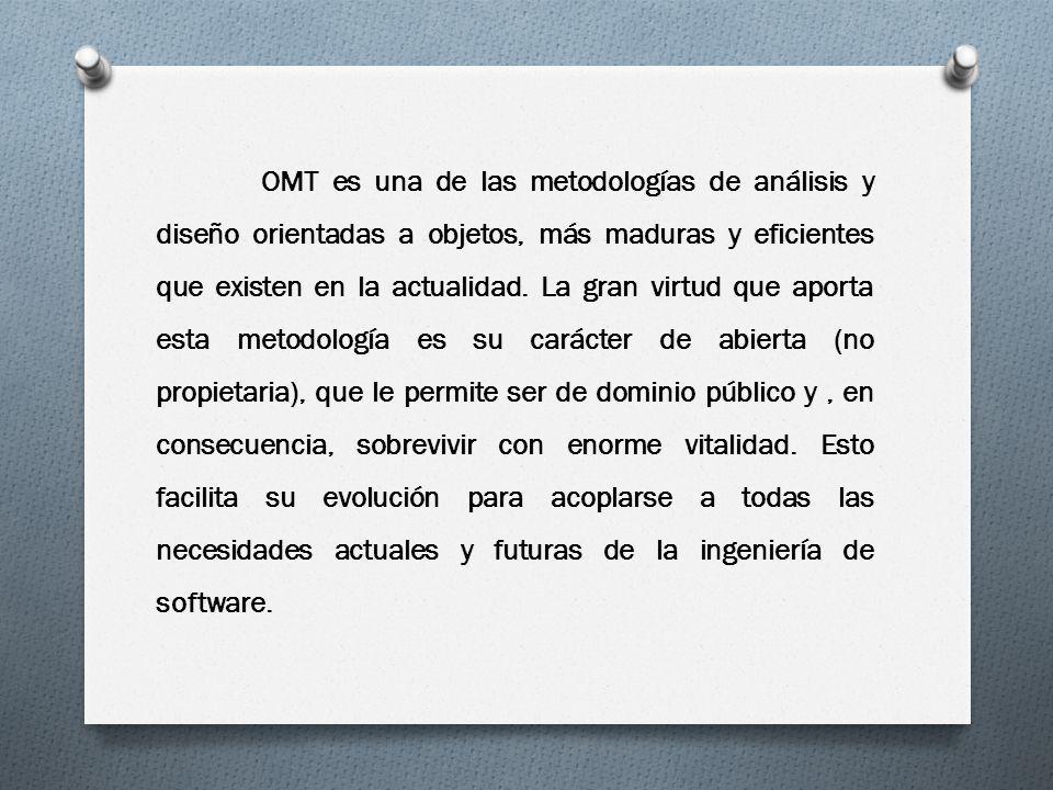 OMT es una de las metodologías de análisis y diseño orientadas a objetos, más maduras y eficientes que existen en la actualidad.