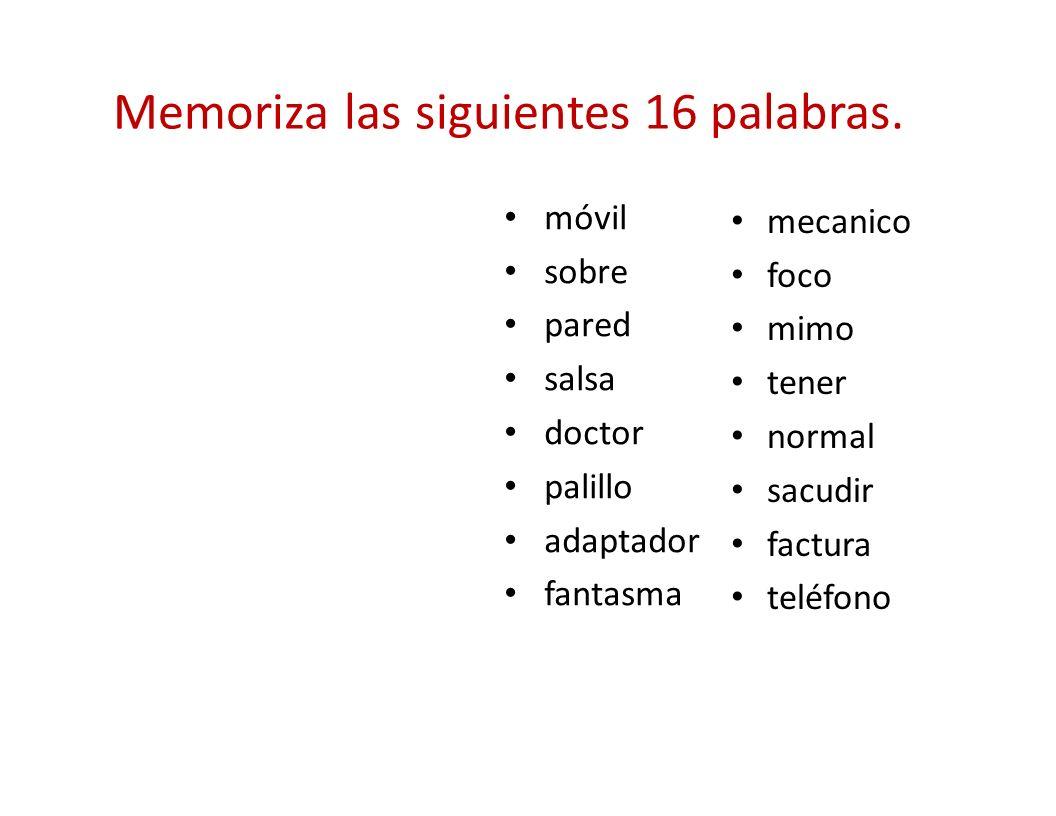 Memoriza las siguientes 16 palabras.