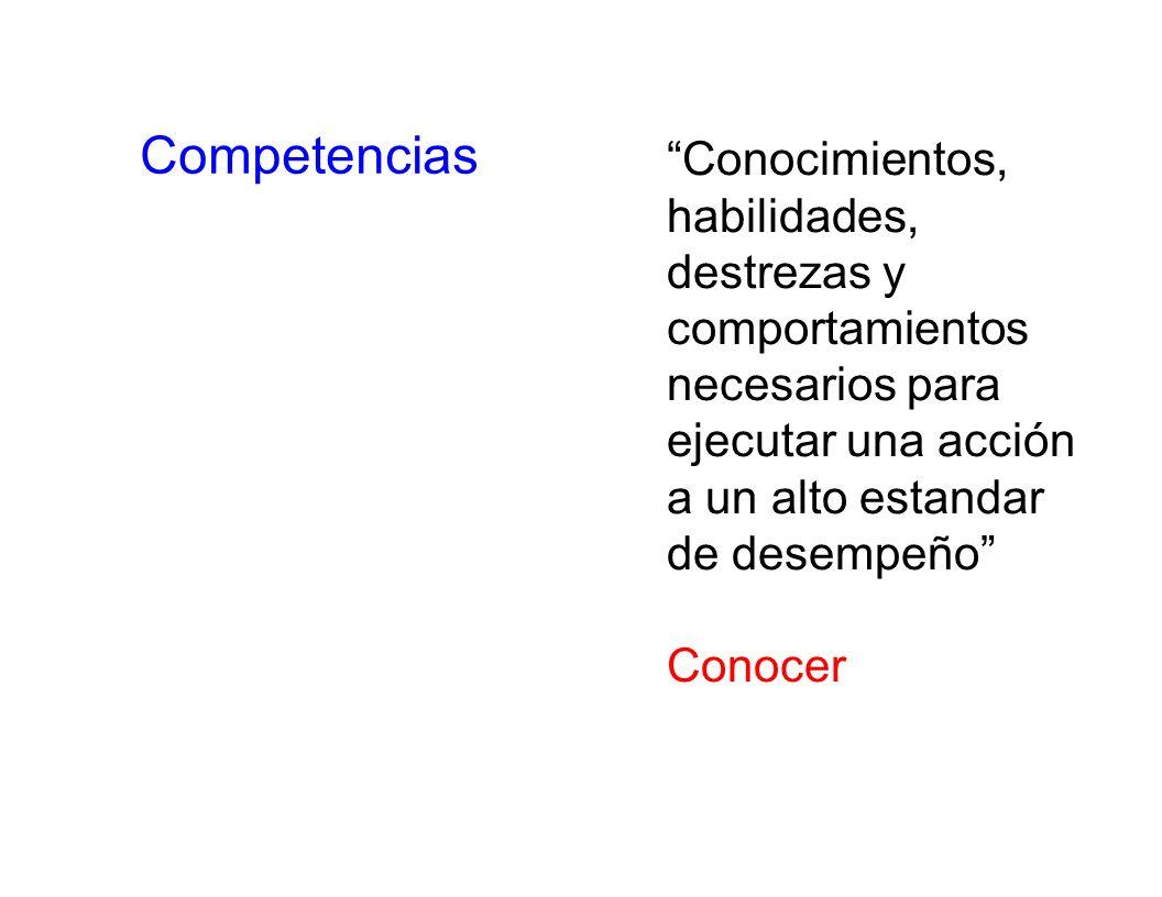 Competencias Conocimientos, habilidades, destrezas y comportamientos
