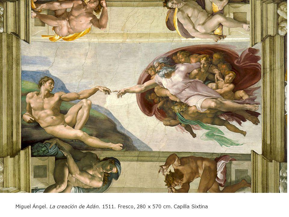 Miguel Ángel. La creación de Adán. 1511. Fresco, 280 x 570 cm