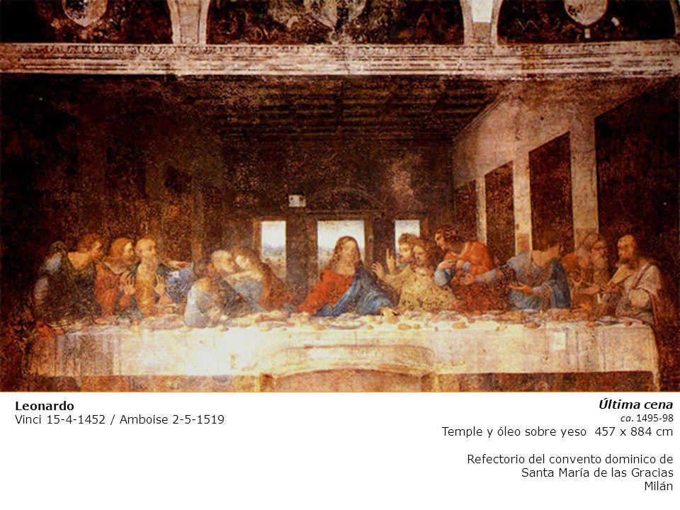 Leonardo Vinci 15-4-1452 / Amboise 2-5-1519. Última cena. ca. 1495-98. Temple y óleo sobre yeso 457 x 884 cm.
